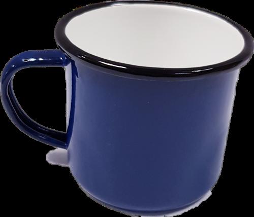 Emaille blauwe Beker