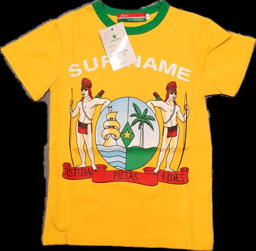t-shirt geel groen rand